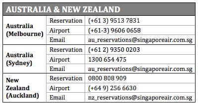 Address Finder New Zealand Singapore Airlines Phone Number