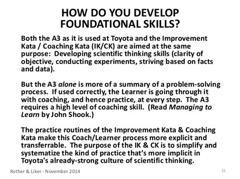 the toyota kata practice guide practicing scientific thinking skills for superior results in 20 minutes a day books how kata fits in
