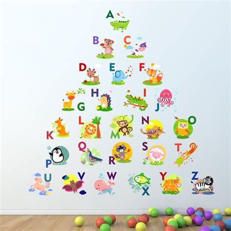 Wall Stiker Alphabet alphabet wall sticker learning letters room decal
