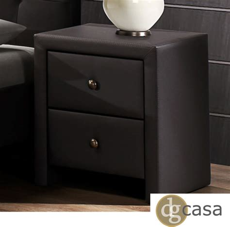 Black Brown Bedside Table Dg Casa Kingston Brown Leatherette Wrapped Nightstand