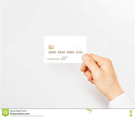 Holding Credit Card Template Holding Blank White Credit Card Mockup Stock Photo Image 73107397