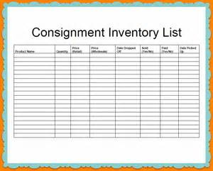 consignment inventory list template sample for your