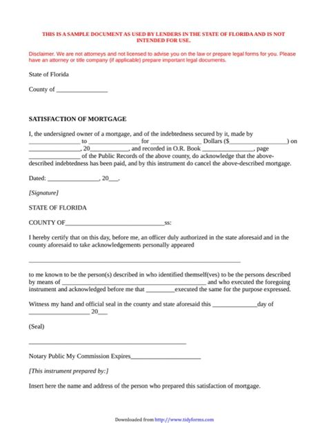 Mortgage Satisfaction Letter New York new york satisfaction of mortgage for free tidyform