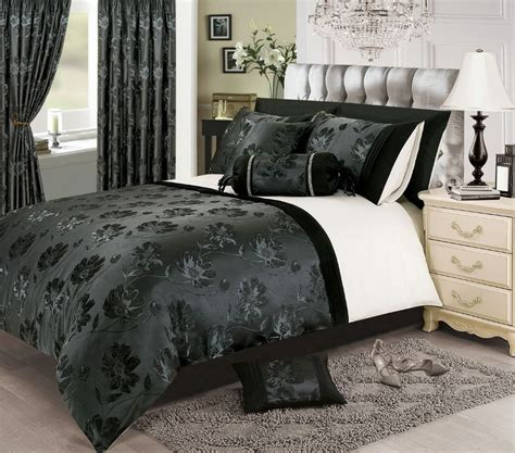 Luxury White Bed Linen - black silver white colour stylish floral jacquard duvet cover luxury beautiful glamour bedding