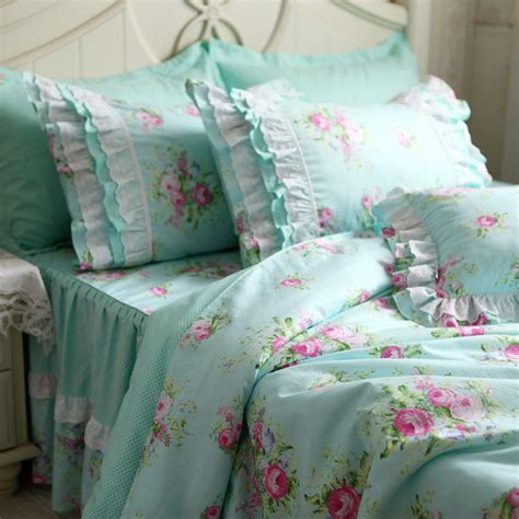 pink and turquoise bedding rural turquoise polka dots pink flower ruffle embroidered
