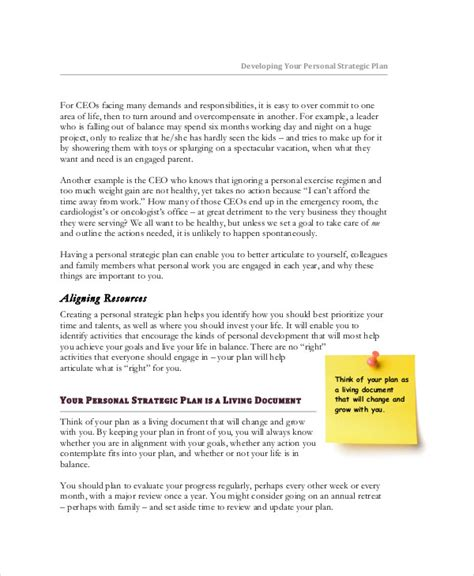 personal strategic plan template personal strategic plan strategic planning process