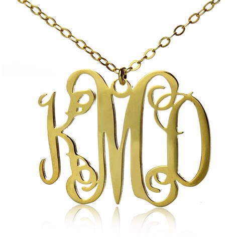 style personalized monogram necklace gold