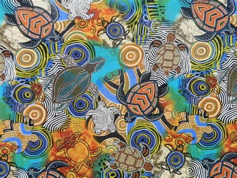 Patchwork Fabric Australia - patchwork quilting sewing fabric aboriginal sea turtles
