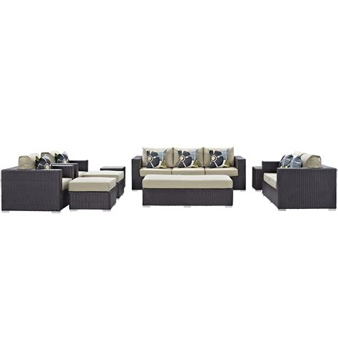 9 piece sectional sofa convene 9 piece outdoor patio sofa set espresso beige