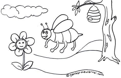 contoh gambar mewarnai lebah gambar mewarnai