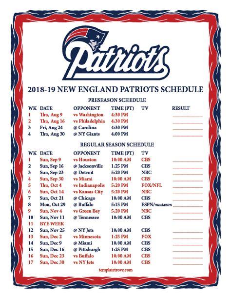 Ny Giants Schedule 2018 Printable