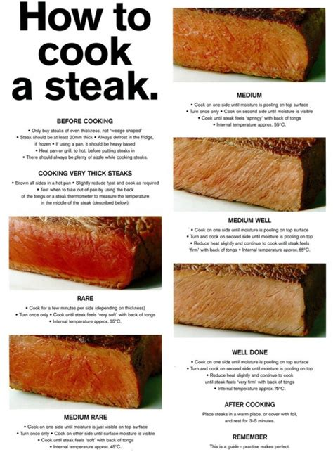 31 how to cook a steak 42 cheat sheet infographics to
