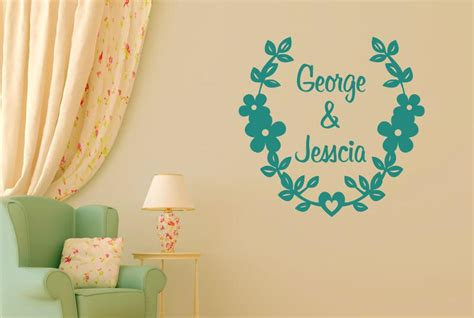 personalised name wall stickers uk personalised couples name floral cut it out wall stickers decals cut it out wall stickers
