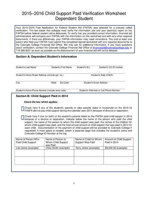 Child Support Worksheet by Colorado Child Support Worksheet Lesupercoin Printables
