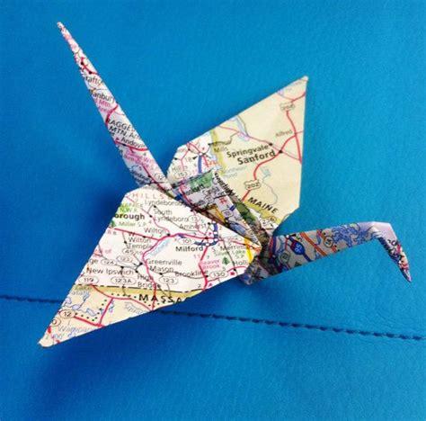 Map Origami Paper - 10 origami map paper cranes atlas cranes wedding