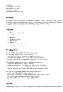 Application Resume Template by Professional Application Support Analyst Templates To