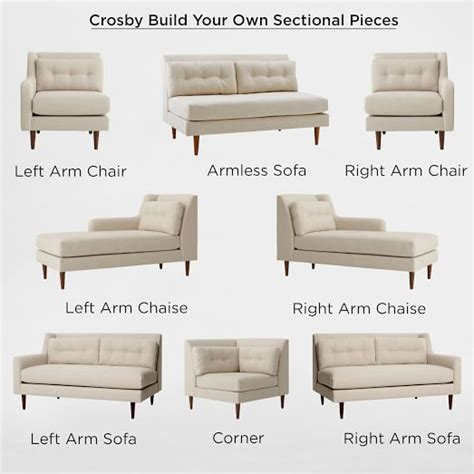 mid century chaise sofa build your own crosby mid century sectional pieces
