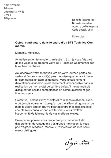 Lettre De Motivation Anglais Stage Bts Ci modele lettre de motivation dut technique de commercialisation document