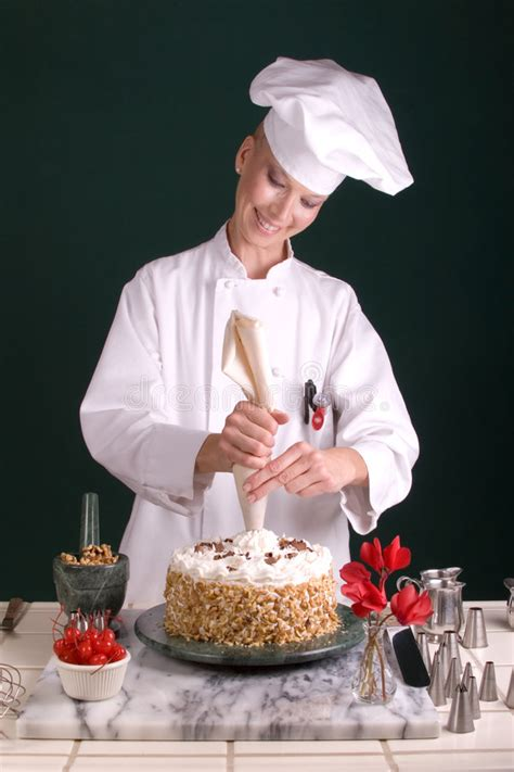 chef piping cake stock image image of baker