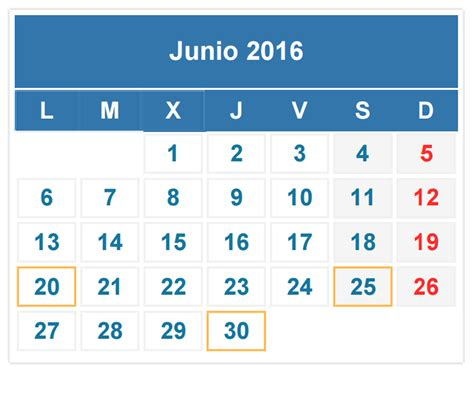 Calendario De Junio Calendario Fiscal Junio 2016 Auditoria