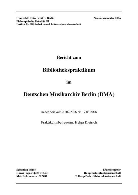 Praktikumsbericht Design Vorlage Praktikumsbericht Deutsches Musikarchiv