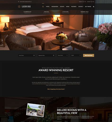 hotel themes for wordpress free download leisure wordpress theme curly themes demo site