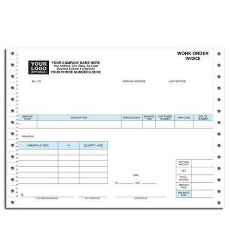 pest invoice template pest work order invoice continuous forms
