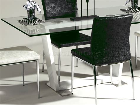 Modern White Glass Dining Table Clear Glass Top White Base Modern Dining Table