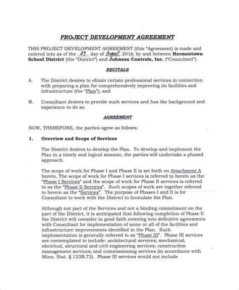 sle project development agreement 9 documents in pdf