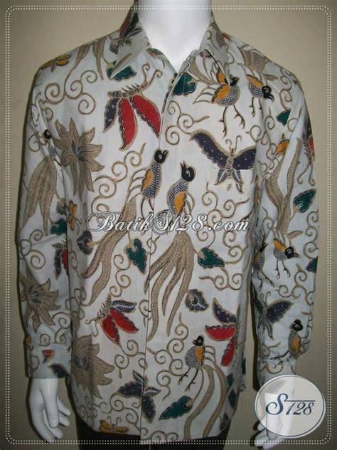 Kemeja Pria Spark Lp Putih kemeja batik pria cap tulis lengan panjang motif burung