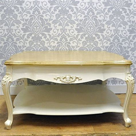 French Style Shabby Chic Cream Painted Wood Top Coffee