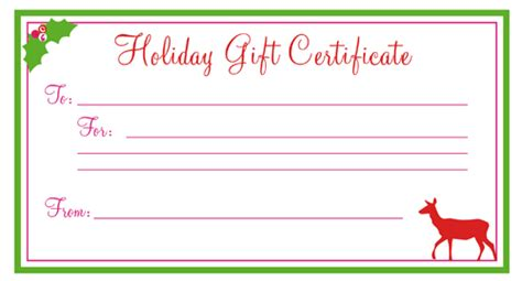 free printable christmas gift certificates new calendar