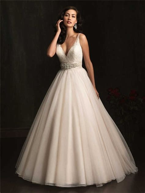 ball gown deep v neck sheer straps organza wedding