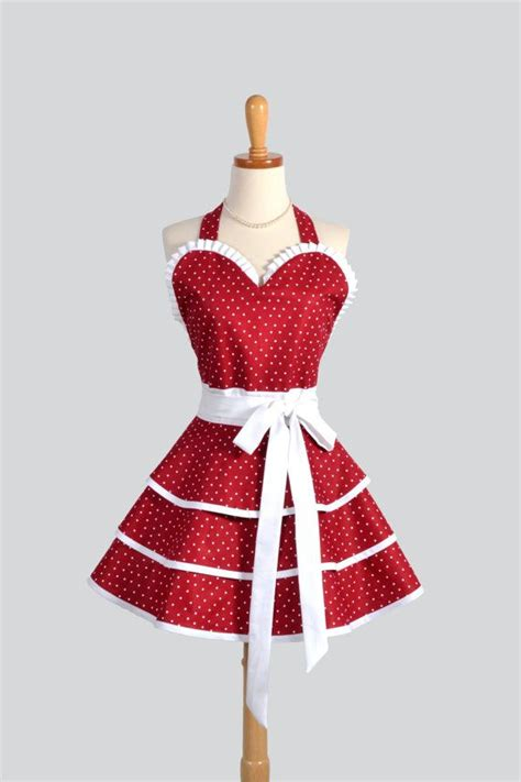 sexy retro pin up apron handmade cute and sexy ruffled cranberry red with white minnie dots