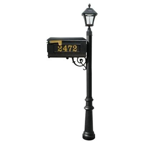 mailbox post with solar light qualarc lewiston mailbox collection with bayview solar