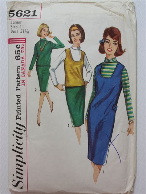 sewing pattern womens jumper sixties sewing pattern 60s simplicity pattern no 5621