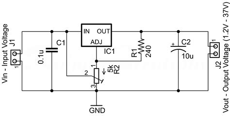 lm317 voltage regulator circuit wiring diagram components