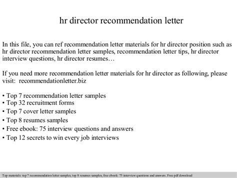 Reference Letter For Hr Hr Director Recommendation Letter