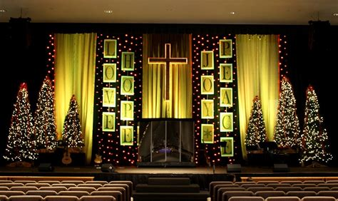 christmas stage decorations lines of text church stage design ideas