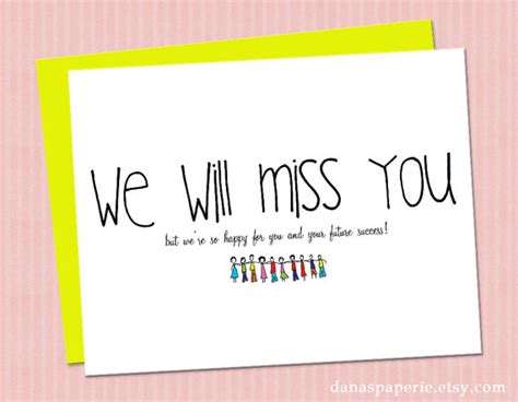 9 best images of we will miss you card printable template