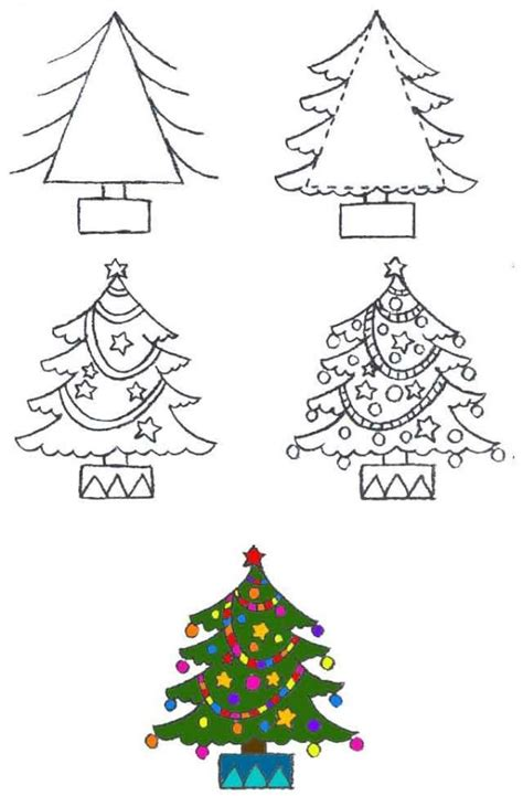 free coloring pages draw christmas trees with step by