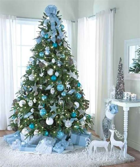 christmas tree decorating ideas blue silver moco choco