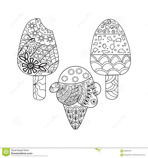 ice cream coloring pages for adults vector set ice cream for coloring book for adult stock