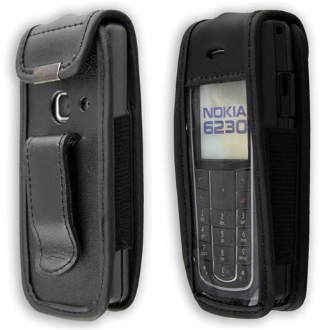 casing nokia 6230 silver nokia 6230 6230i leather with belt clip black