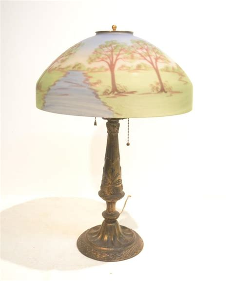 painted glass l shades reverse painted glass shade lamp