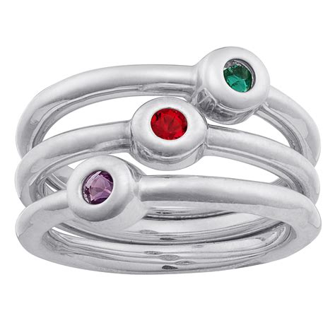 sterling silver stackable birthstone rings set of 3