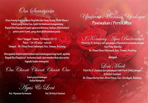 desain undangan pernikahan adat bali sleiver kartu undangan nuansa mawar merah