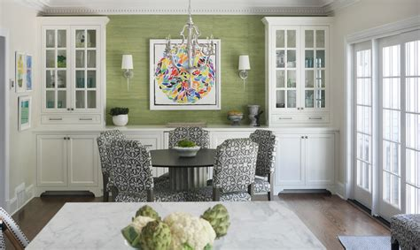 green accent wall dining room built in buffet ideas dining room transitional