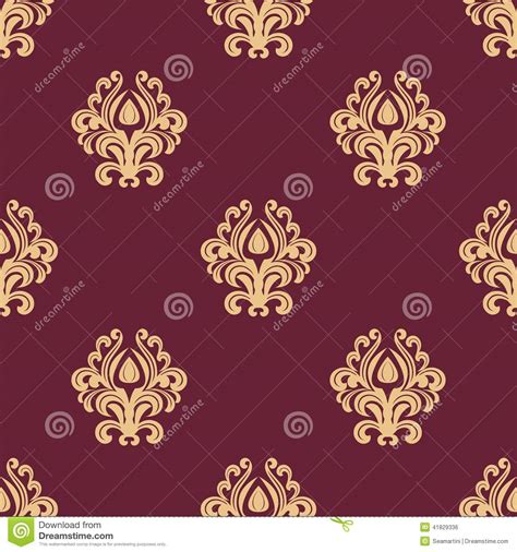 pattern background maroon beige floral seamless pattern on maroon background stock