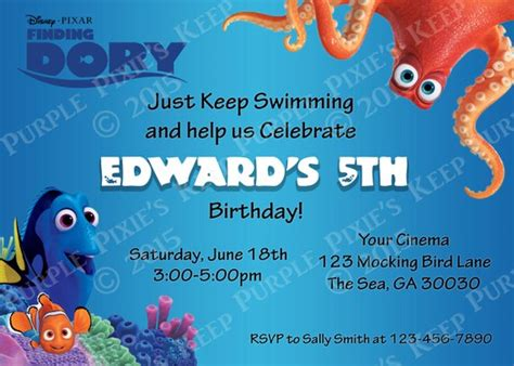Items Similar To Finding Dory Movie Birthday Invitation On Etsy Finding Dory Birthday Invitations Template